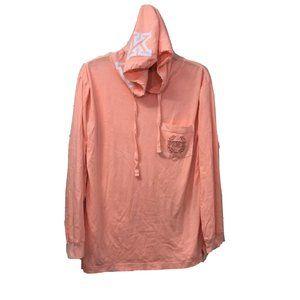 Victorias Secret Pink Graphic Hooded Pocket Tshirt